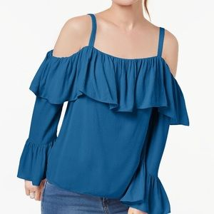 INC New Cold Shoulder Cut Out Ruffle Blouse